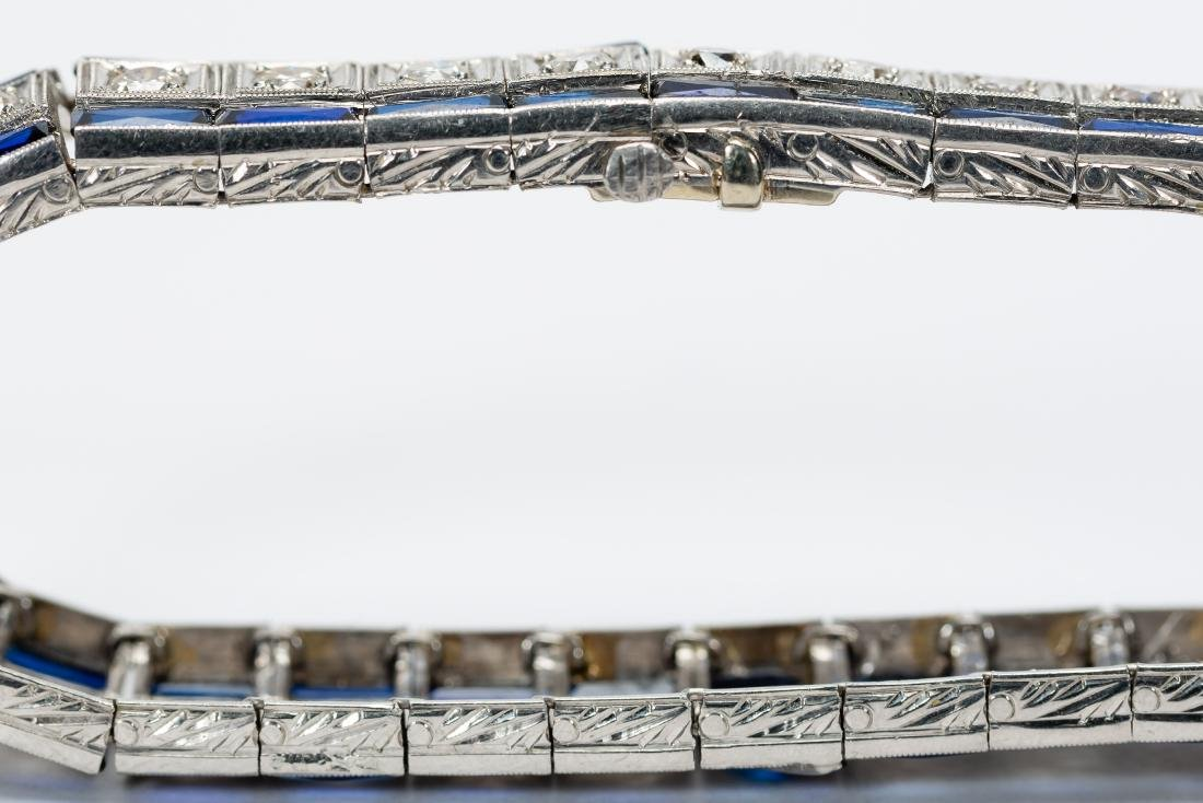 Art Deco 18K  Diamond & Sapphire Buckle Bracelet - 8