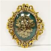 Victorian Hair Work Floral Motif Brooch or Pin