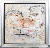 Jamali, 2 Faces in Profile, Large MM on Canvas