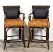 Pair Maitland Smith Bar Stools w Woven Seats