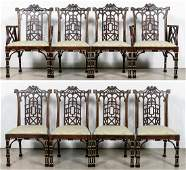 8 Maitland Smith Chinese Chippendale Dining Chairs