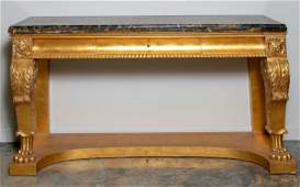 Henredon Giltwood  Marble Top Console Table