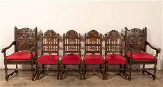 Set Six Carved Oak Jacobean Dining Chairs