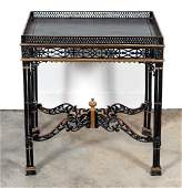 Chinese Chippendale Black Lacquered & Gilt Table