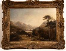 James Poole, 19th C. British Mountain View Oil