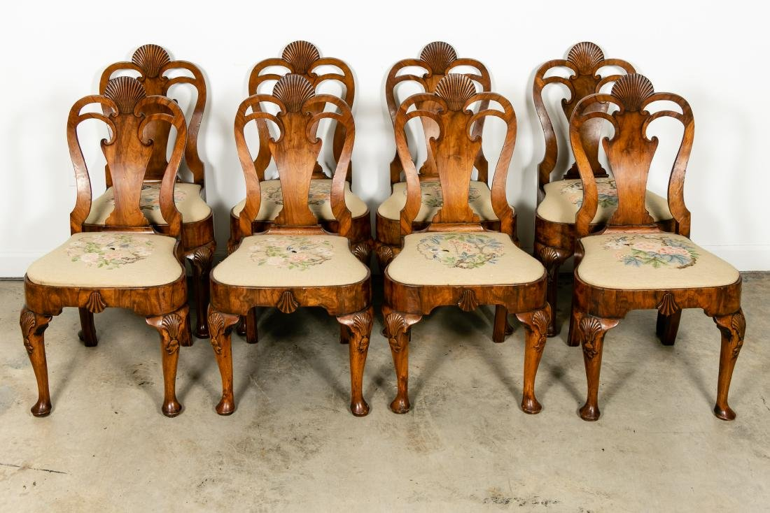 Set of 8 Queen Anne Walnut Dining Chairs, c. 1710
