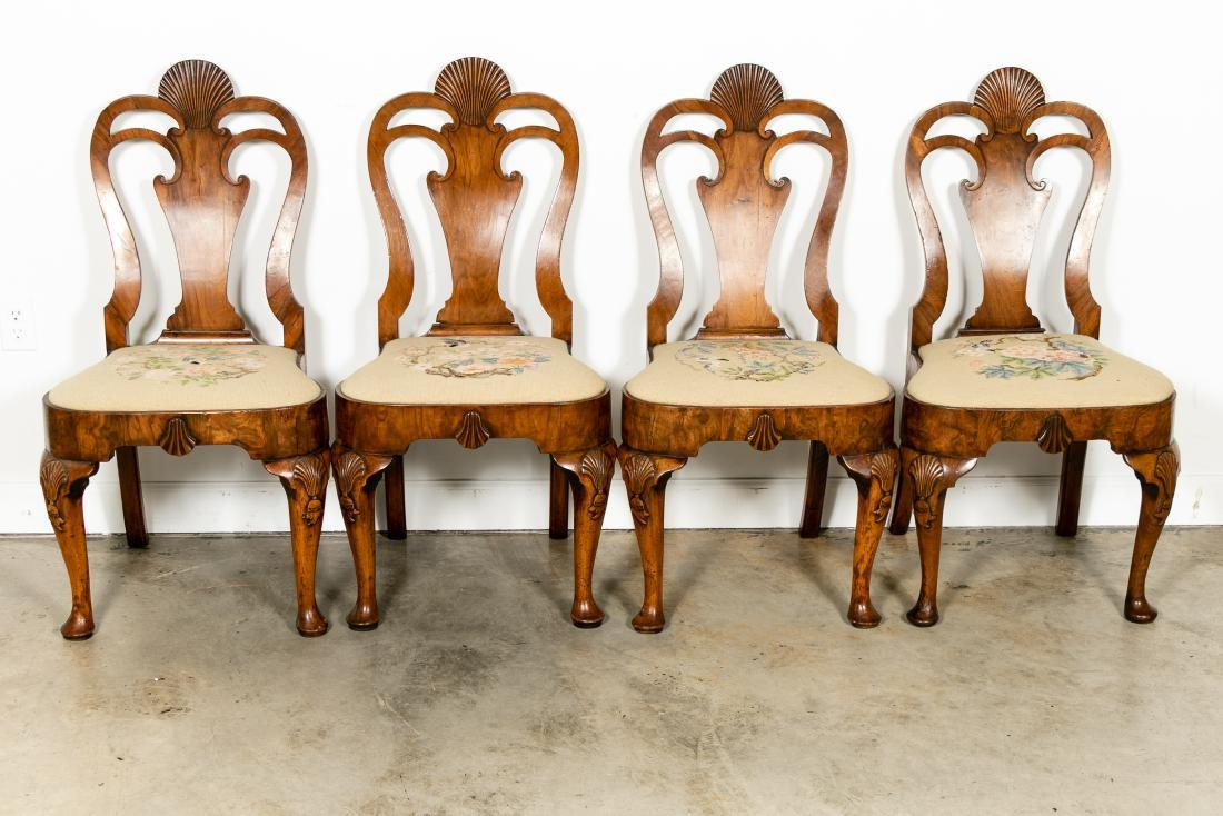 Set of 8 Queen Anne Walnut Dining Chairs, c. 1710 - 2