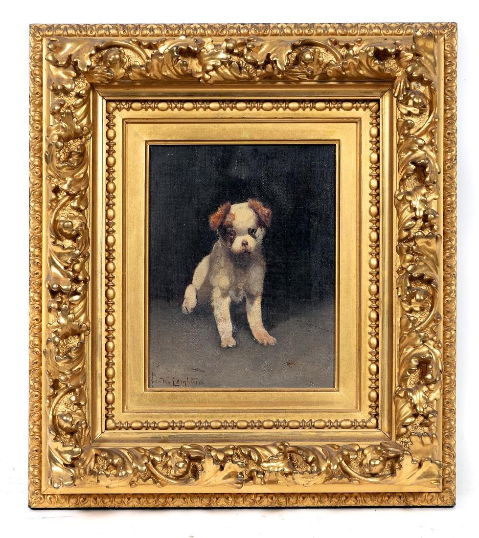 Scott Leighton, Signed Oil, Brown & White Puppy