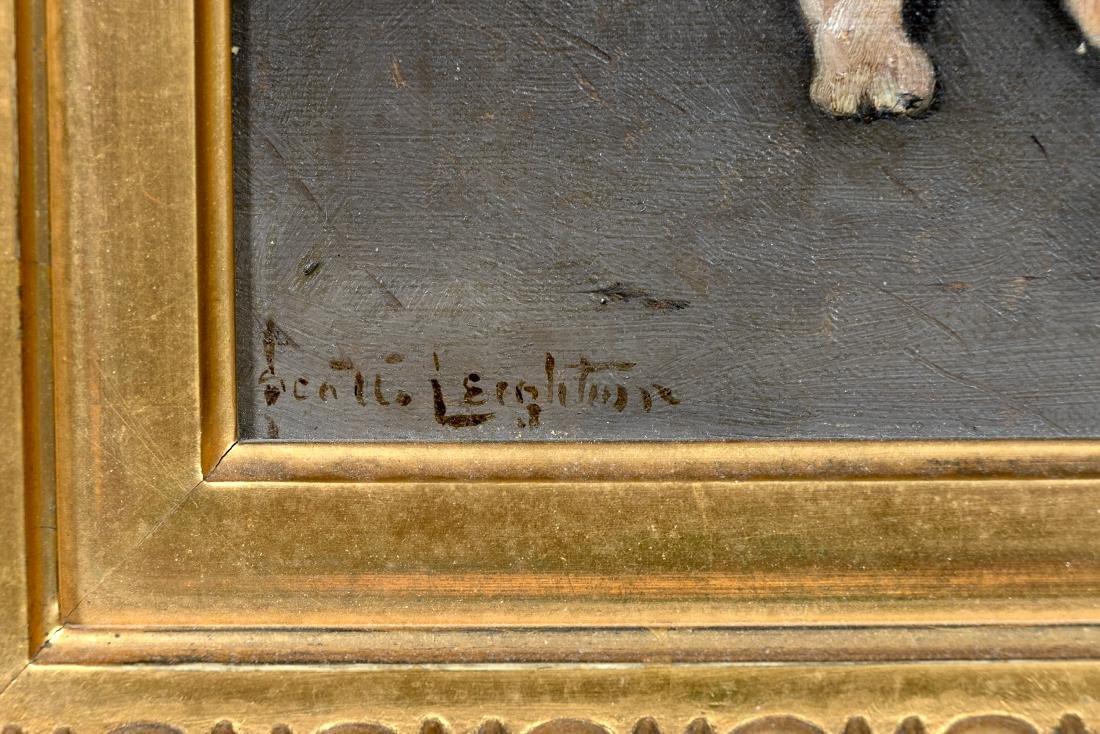 Scott Leighton, Signed Oil, Brown & White Puppy - 3