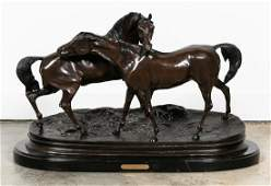 After P.J. Mene, Equine Bronze of Two Horses