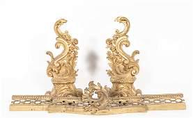 French Three Piece Bronze Fireplace Set
