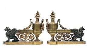 Pair, Bronze Chenet w/ Urns & Gryphon