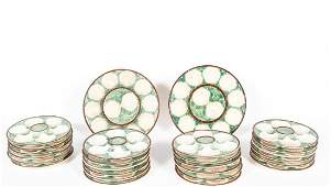 French Faience Oyster Set, 26 Pieces