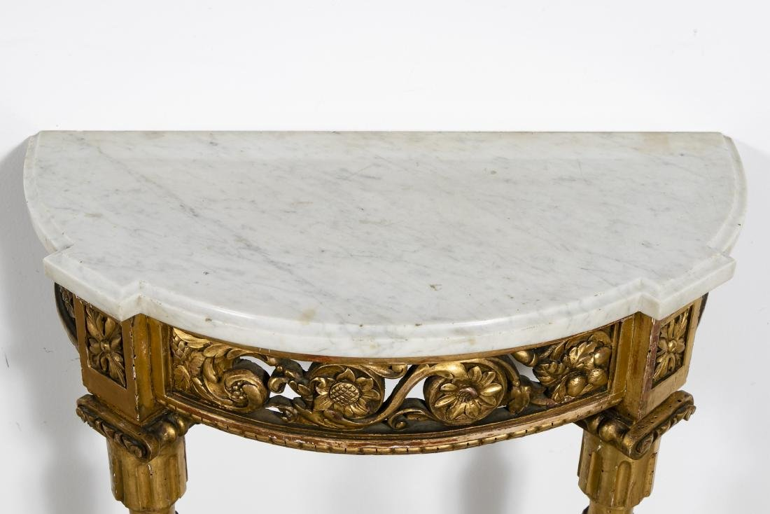 Small Marble Top French Gilt Wood Console - 3