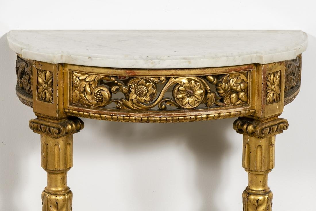 Small Marble Top French Gilt Wood Console - 6