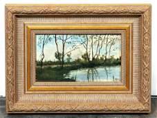 Barbizon Style Oil on Board Landscape Signed