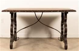 Baroque Style Iron Mounted Oak Trestle Table