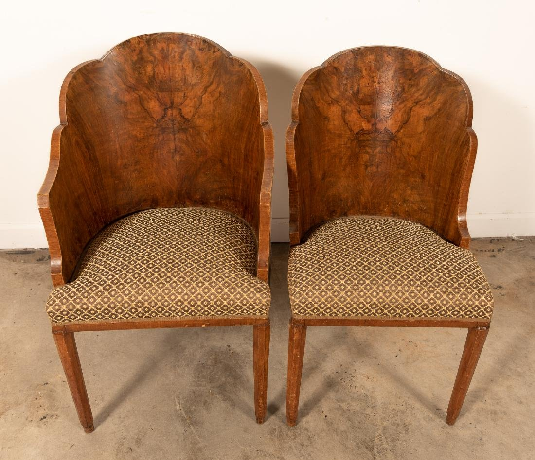 Two, Burled Walnut Continental Chairs