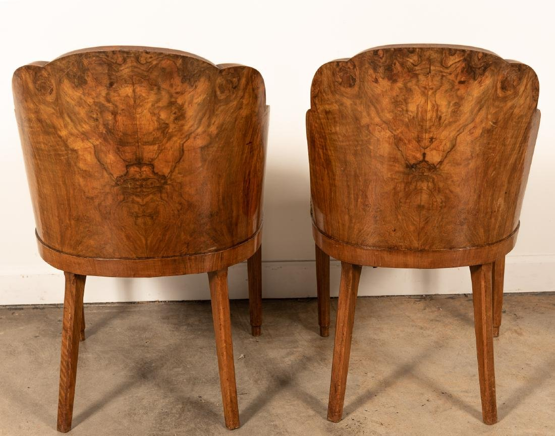 Two, Burled Walnut Continental Chairs - 2