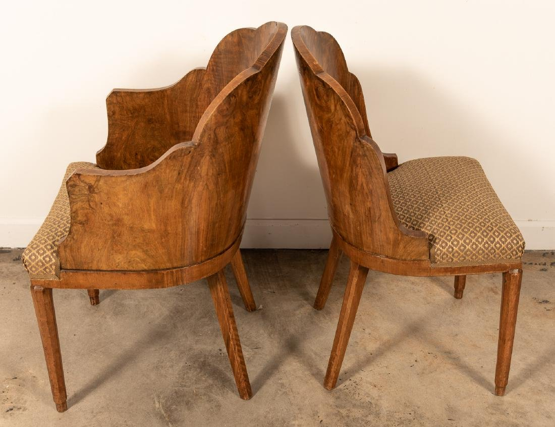 Two, Burled Walnut Continental Chairs - 3
