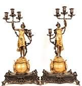 Pair of Art Nouveau Metal Figural Candelabrum