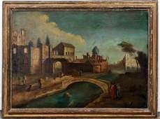 18th C Capriccio Scene View over Canal