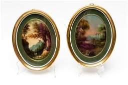 Two Diminutive Italian Oval Landscape Scenes