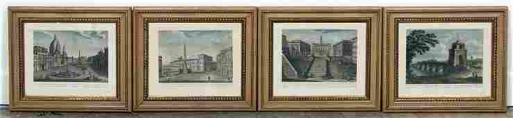 4 Handcolored Engravings of Rome After Cottafavi