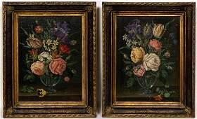 Pair Dutch School Still Life Oils on Canvas