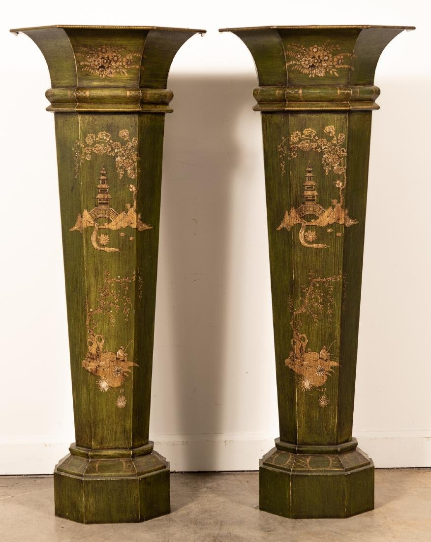 Pair of Green Tole Chinoiserie Floor Plant Stands