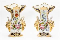 Pair of Old Paris Porcelain Gilt Vases