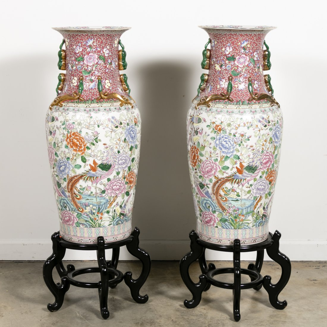 Pair, Chinese Porcelain Floor Vases on Stands