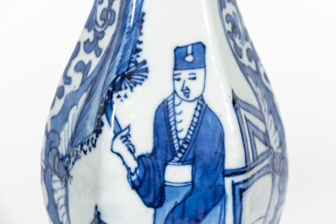 Pair, Chinese Blue & White Baluster Vases - 8