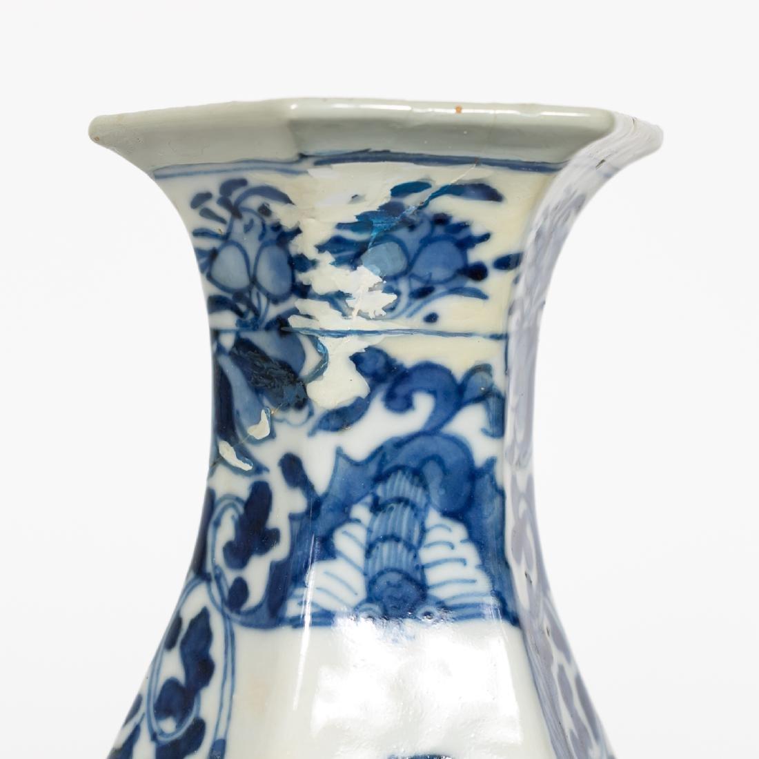 Pair, Chinese Blue & White Baluster Vases - 9