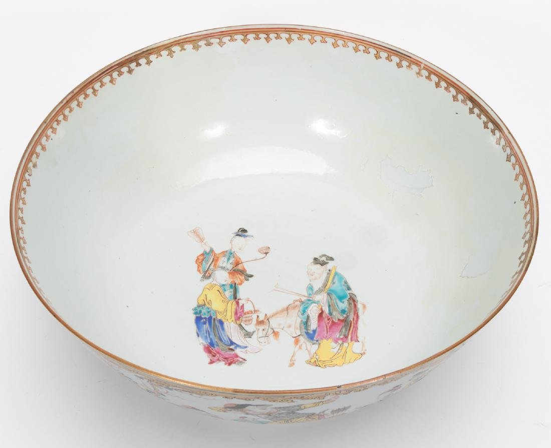 Chinese Export Famille Rose Porcelain Punch Bowl - 4