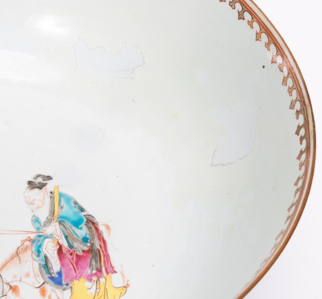 Chinese Export Famille Rose Porcelain Punch Bowl - 8