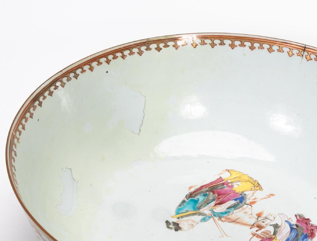 Chinese Export Famille Rose Porcelain Punch Bowl - 9