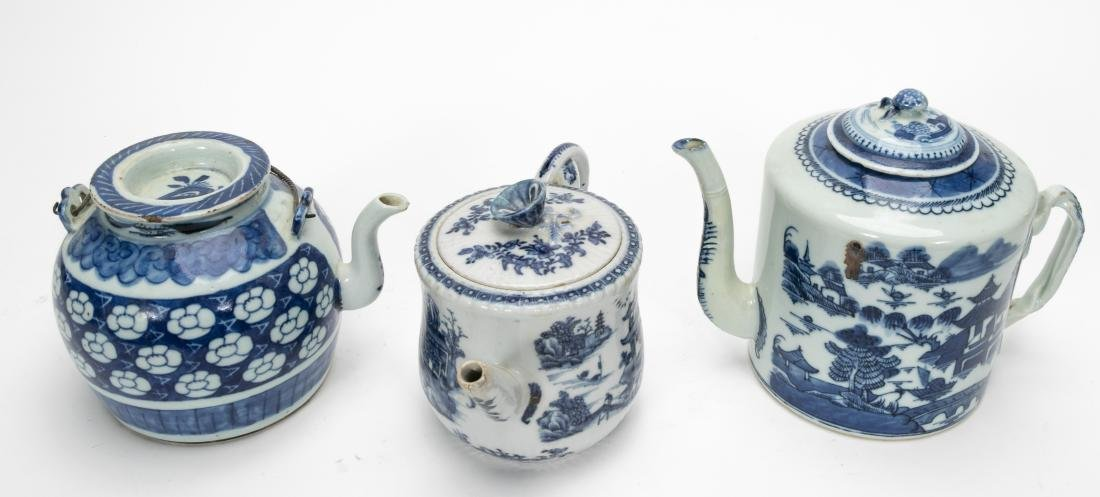 Chinese Blue & White Teapots Including Export 3PCS