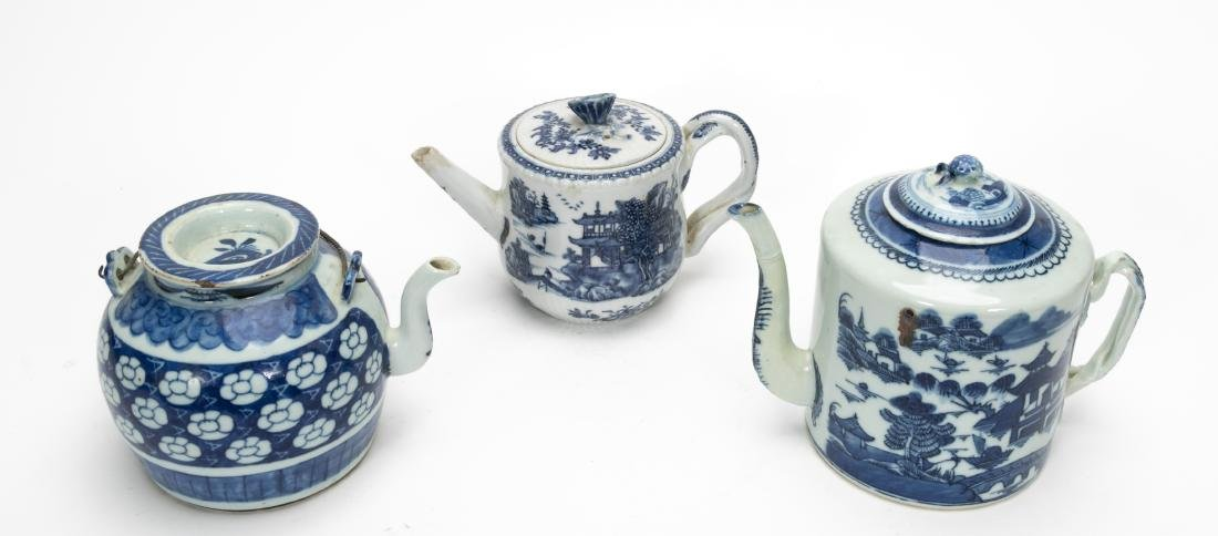 Chinese Blue & White Teapots Including Export 3PCS - 2