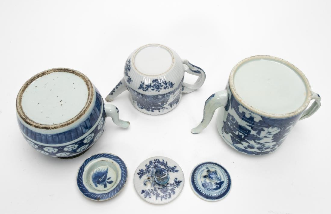 Chinese Blue & White Teapots Including Export 3PCS - 3