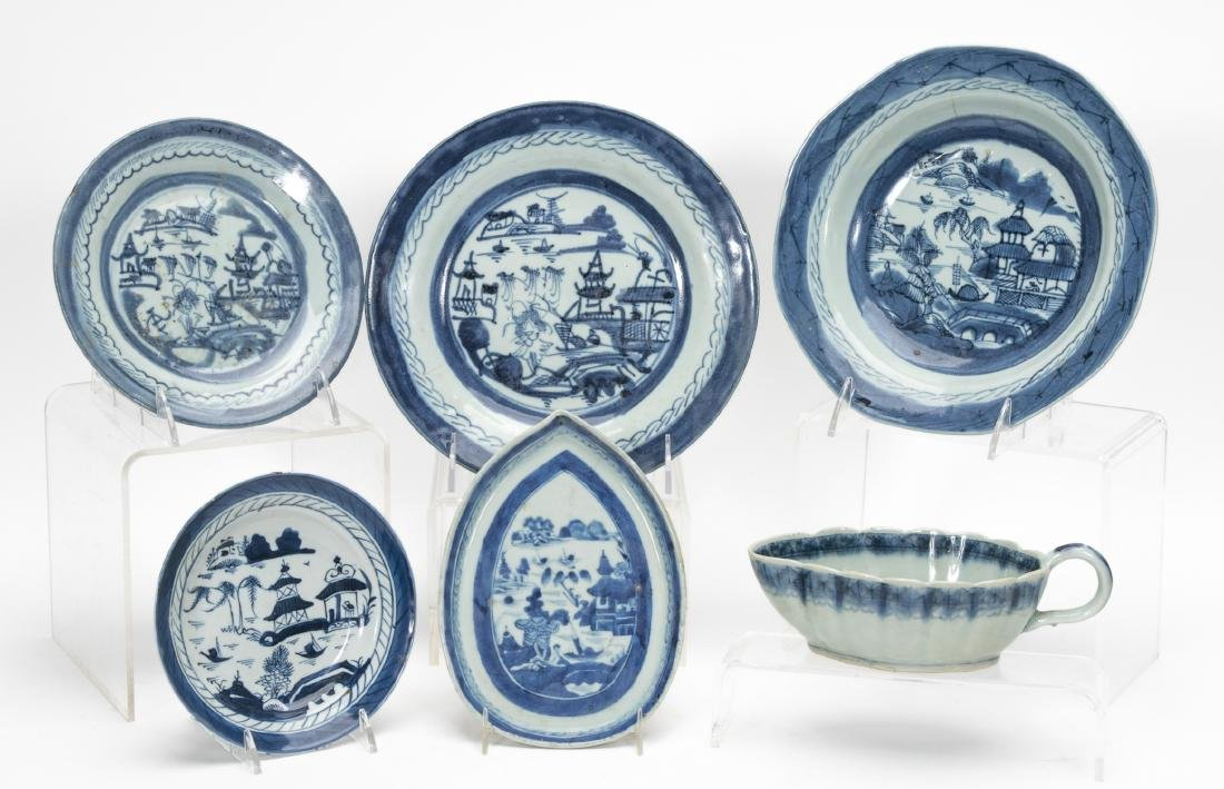 Chinese Export Blue & White Canton, 6 PCS