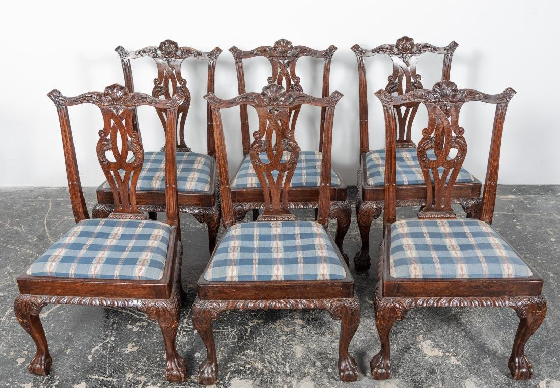 Set, Six Oak Chippendale Style Dining Chairs