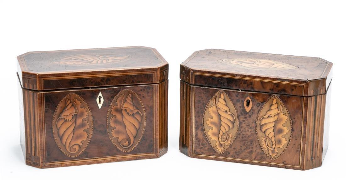 Two Similar English Shell Inlaid Burl Tea Caddies