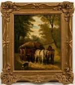 Oil on Wood Panel, Genre Scene