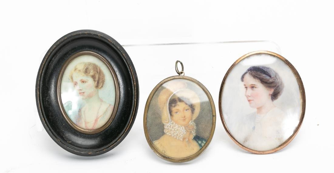19th & 20th C. Miniature Portraits of Women, 3 PCS