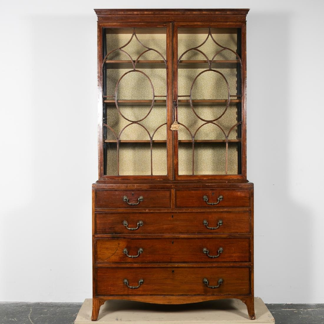 19th C. English Mahogany Bookcase on Chest