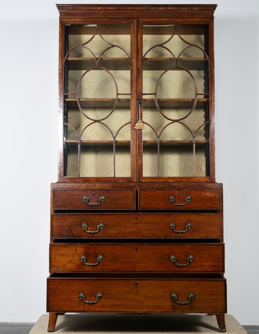 19th C. English Mahogany Bookcase on Chest - 2