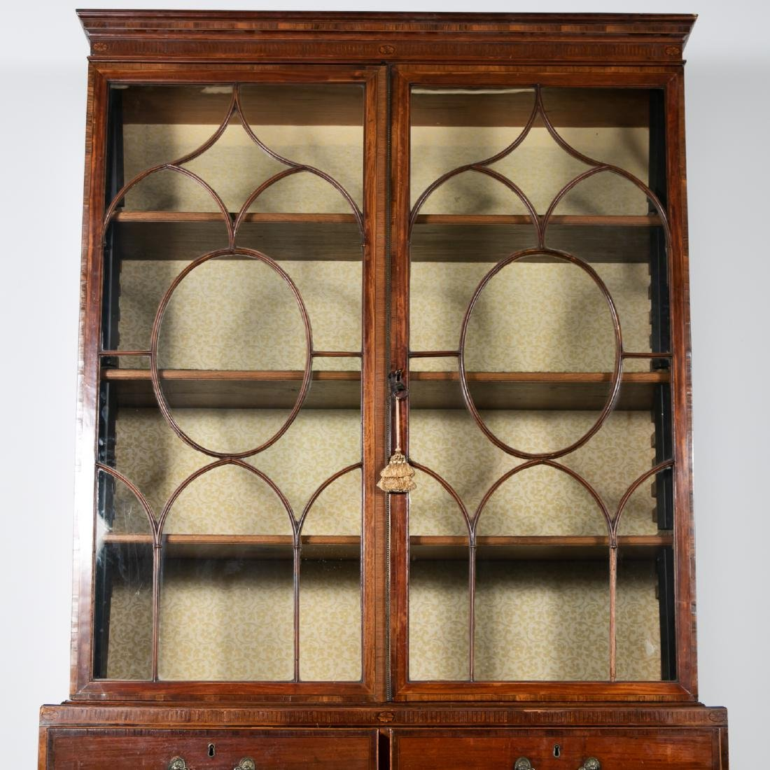 19th C. English Mahogany Bookcase on Chest - 3