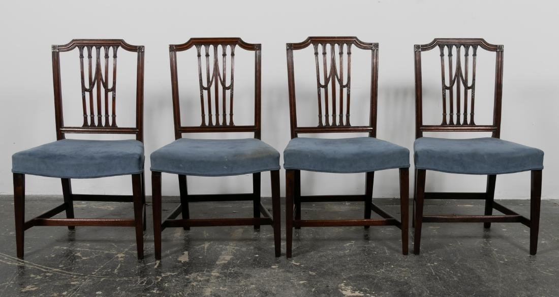 S/4 English Mahogany Sheraton Side Chairs, 19th C.