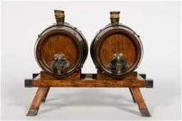 Maple  Co English Oak Two Barrel Dispenser